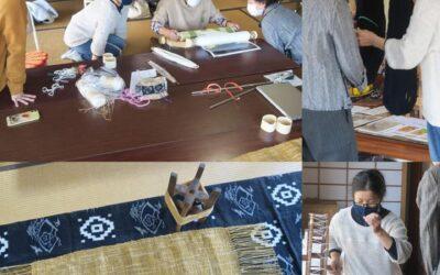 紡いだ糸がテーブルセンターに
